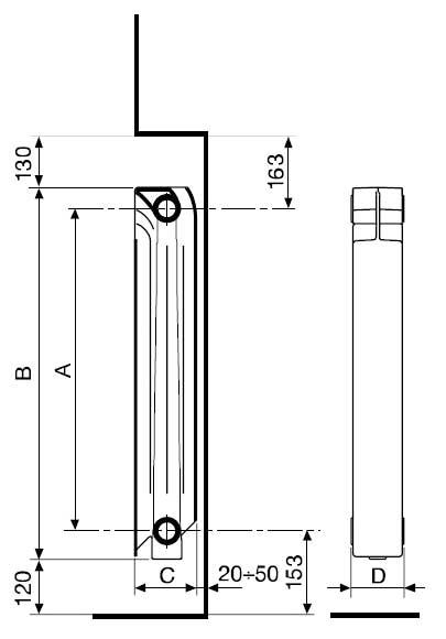 Схема алюминиевого радиатора